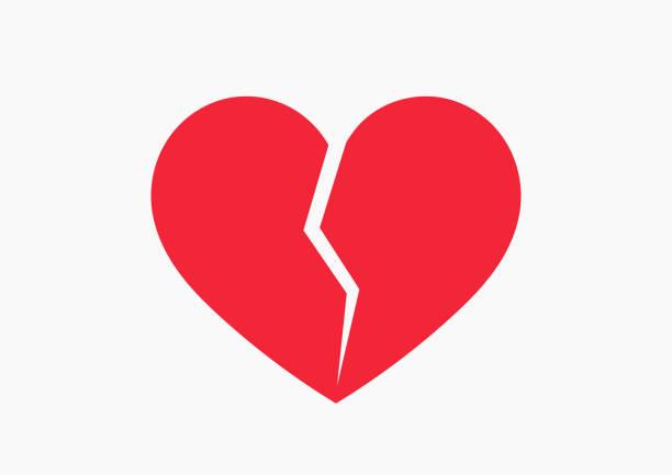 stockillustraties, clipart, cartoons en iconen met rode gebroken hart pictogram. - liefdesverdriet