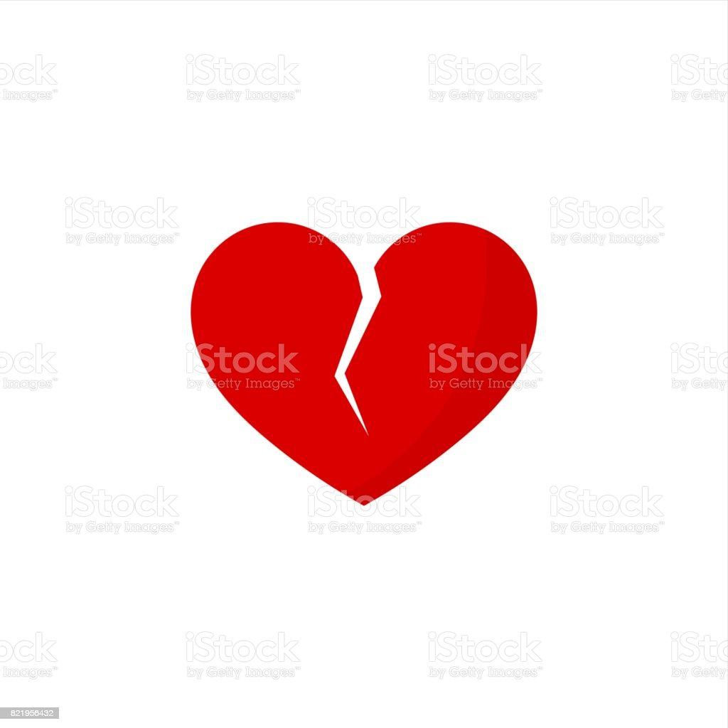 Red broken heart vector art illustration