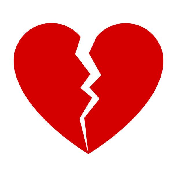 stockillustraties, clipart, cartoons en iconen met rode gebroken hart - liefdesverdriet