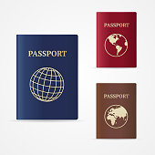 Red, brown, and blue passport books