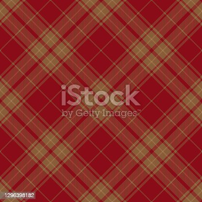 istock Red Brown Argyle Scottish Tartan Plaid Textile Pattern 1296398182