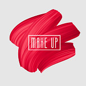 Red brush painted smear for makeup symbol. Vector beautiful brushstroke, female girly banner. Red Lipstick Mark.