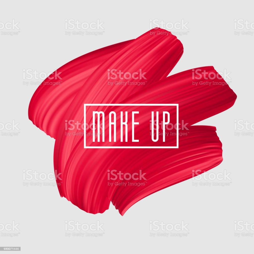 Red brush painted smear for makeup icon. Vector beautiful brushstroke, female girly banner. Red Lipstick Mark. vector art illustration