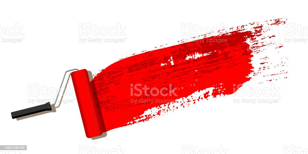 Red Brush Stroke With Paint Roller Isolated On White Background