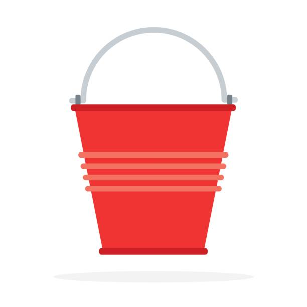Red bucket to extinguish the fire vector art illustration