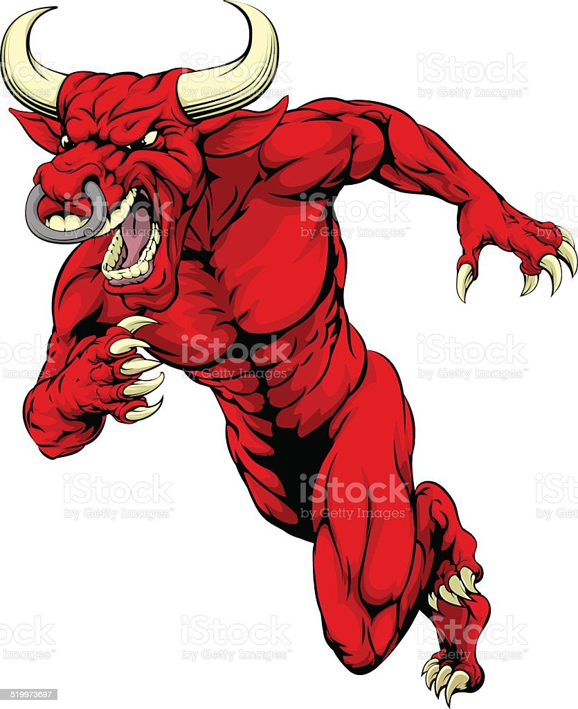 Red bull mascot running vector art illustration