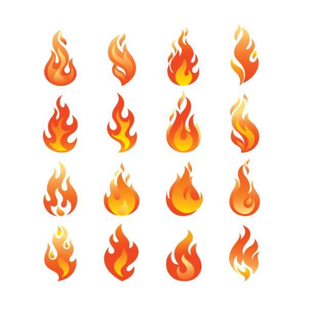 rote brennende feuer flamme symbolsatz vektor entwurfsvorlage. feuerball konzept icon pack zu verbrennen. heißen inferno abbildung. lagerfeuer kreative kollektion. - feuer stock-grafiken, -clipart, -cartoons und -symbole