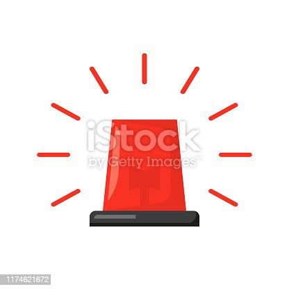 red burning flasher in flat style, a white background