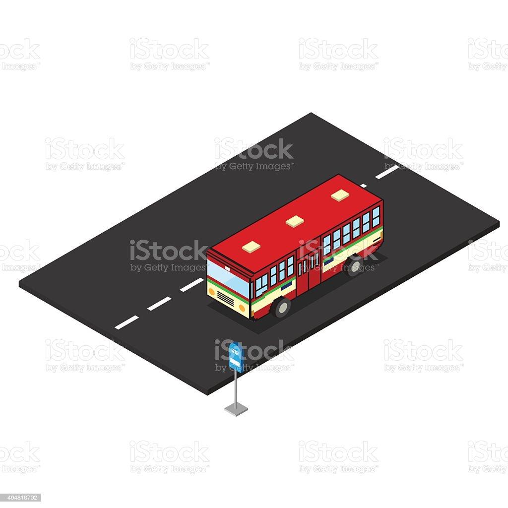 bus rouge sur la route avec panneau d'arrêt de bus - Illustration vectorielle