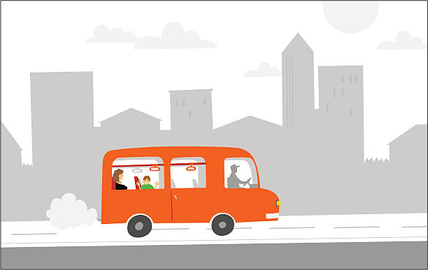 red bus vector art illustration