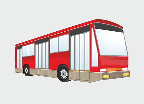 Red bus with no people, isolated. Vector illustration.