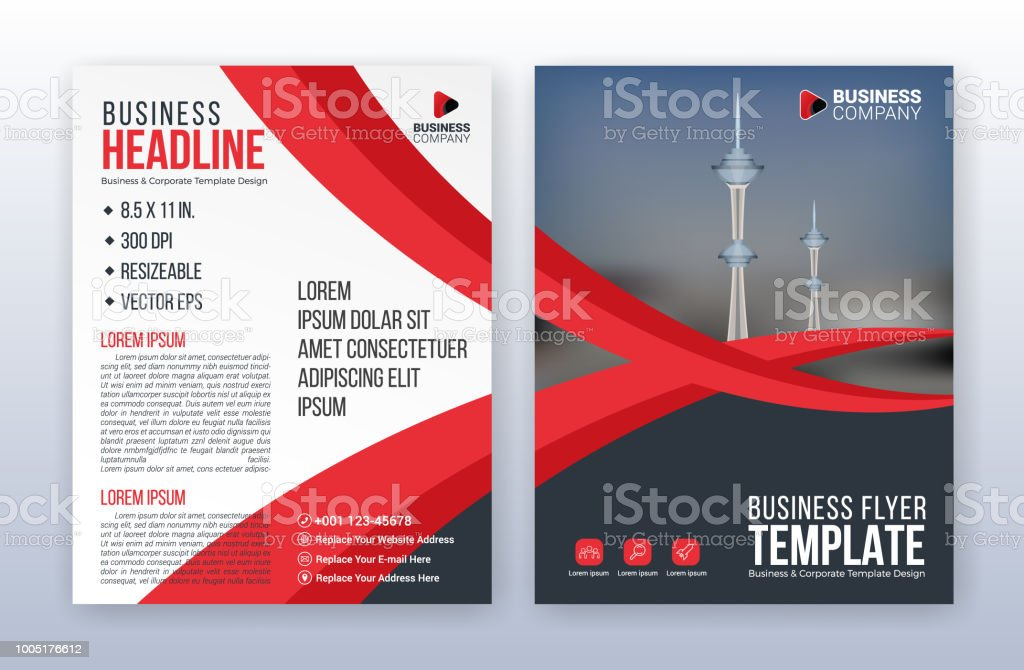 red business flyer template annual report background 85 x 11 inches