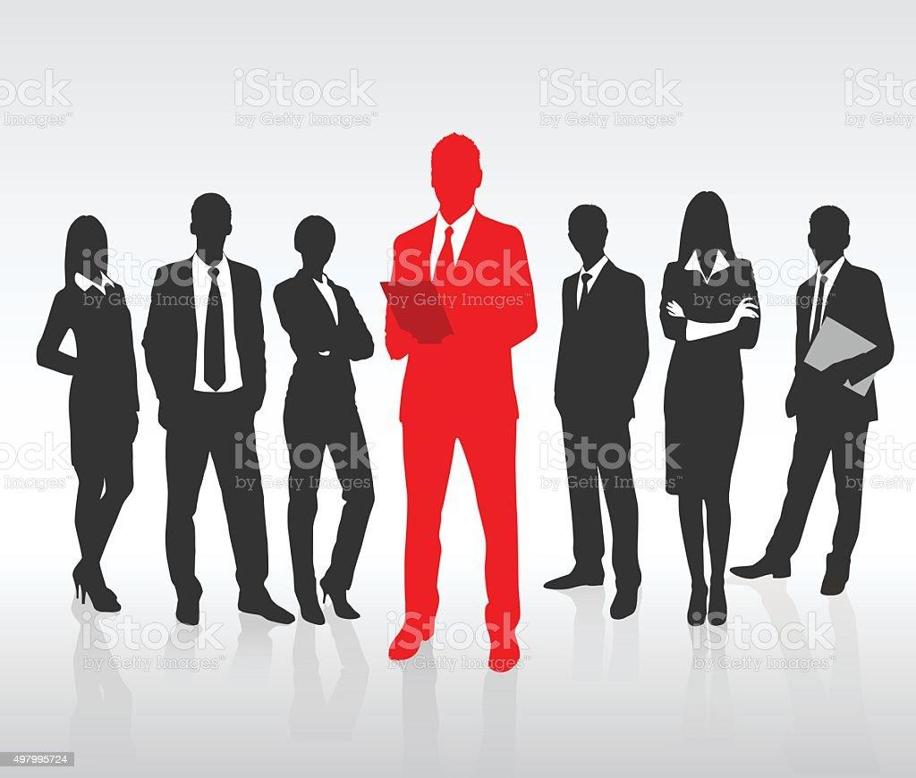 Vermelho Empresário silhueta, grupo de pessoas de negócios preto conceito de equipe - Vetor de 2015 royalty-free
