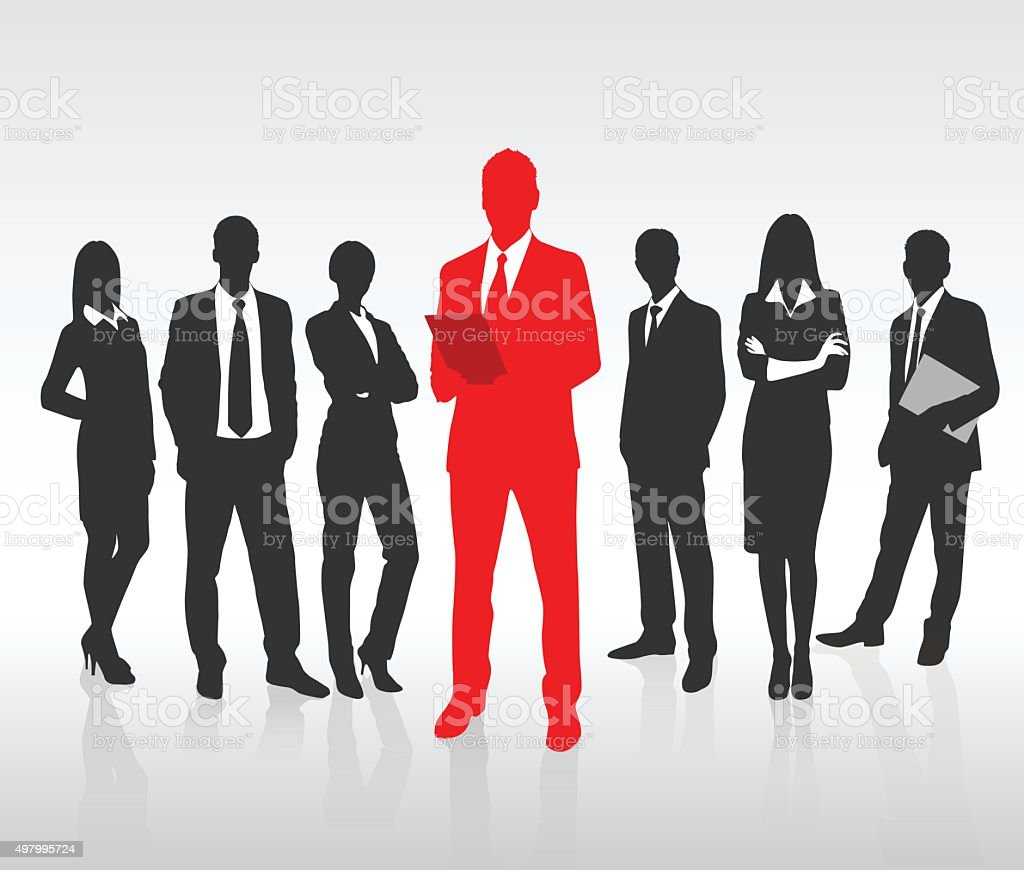 Rojo hombre de negocios Silueta negra de la gente de negocios equipo grupo de concepto - ilustración de arte vectorial