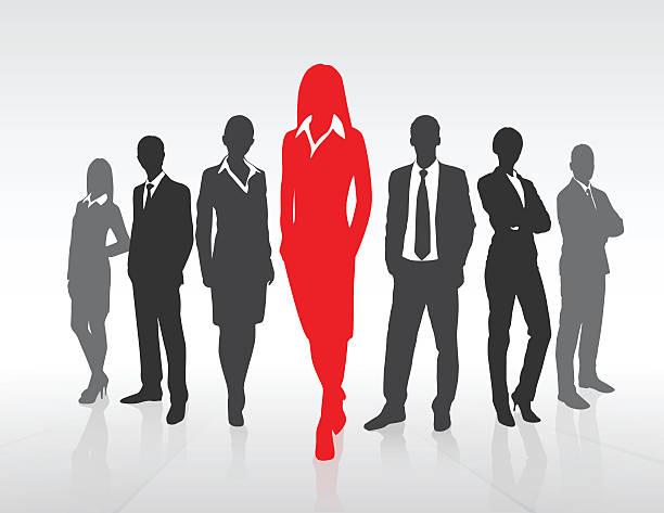 ilustraciones, imágenes clip art, dibujos animados e iconos de stock de rojo empresaria negra silueta, grupo de concepto de equipo de personas de negocios - gente de negocios