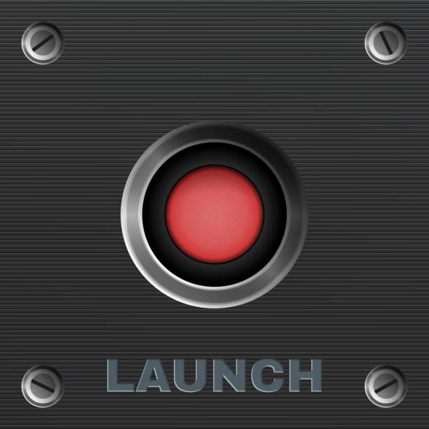 ilustraciones, imágenes clip art, dibujos animados e iconos de stock de botón rojo.  lanzamiento.  vector - gran inauguración