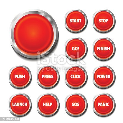 Red push-buttons with text: