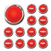 Red Button Set On White
