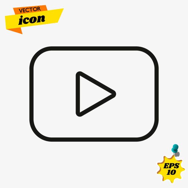 ilustrações de stock, clip art, desenhos animados e ícones de red button video player in line style. youtube symbol, icon, ui, web. vector illustration. eps 10 - video