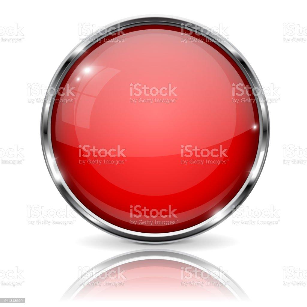 Ilustración de Botón Rojo Con El Marco Cromado Icono 3d Brillante ...
