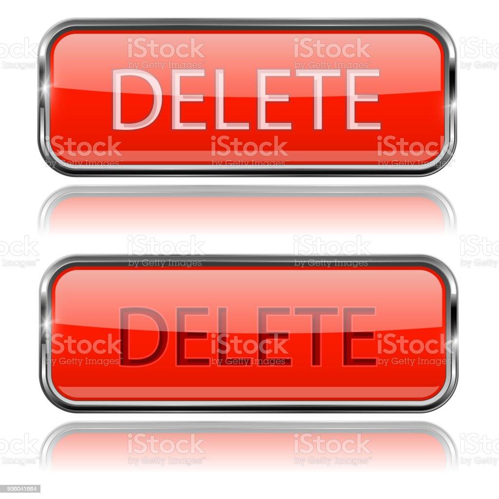 Ilustración de Eliminar Botones Rojos Iconos 3d De Rectángulo De ...