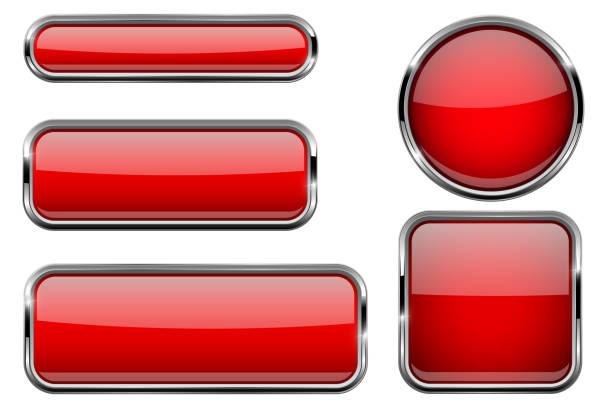 紅色按鈕設置。帶金屬框的玻璃圖示 - 按鈕 幅插畫檔、美工圖案、卡通及圖標