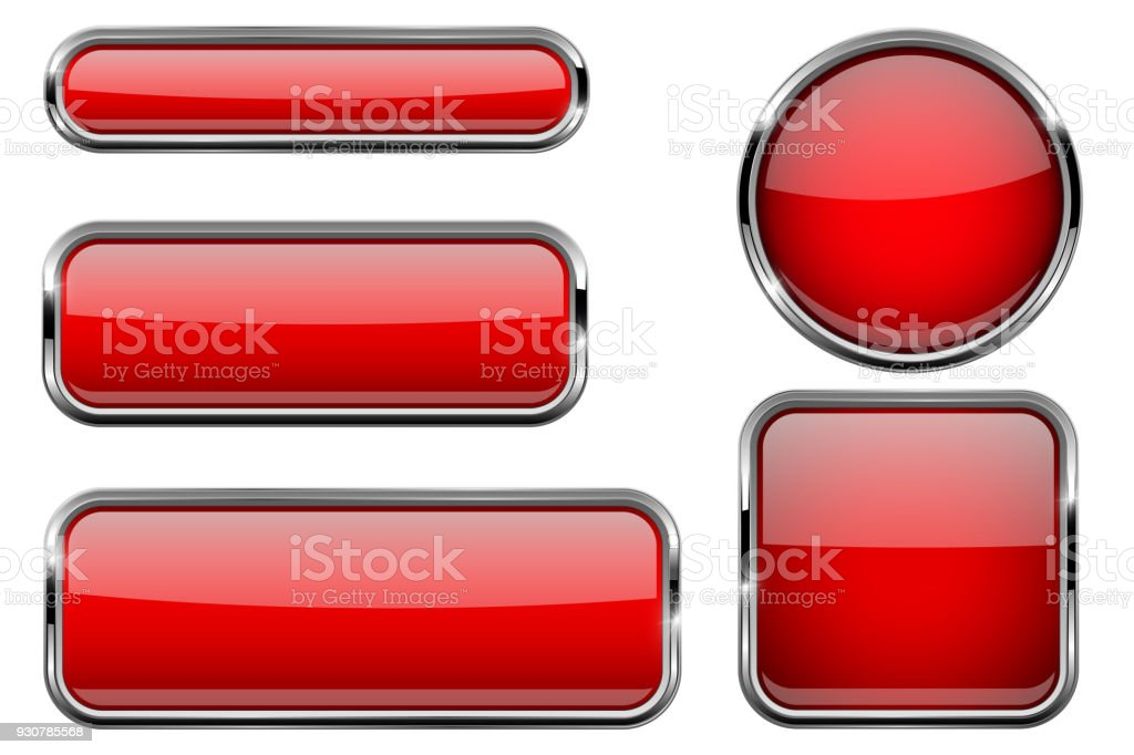 Red buttons set. Glass icons with metal frame vector art illustration