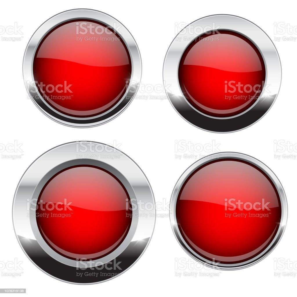 Ilustración de Botones Rojos Con Marco Cromado Iconos 3d Brillante ...