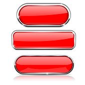 Red buttons with metal frame. Collection of shapes. Vector 3d illustration isolated on white background