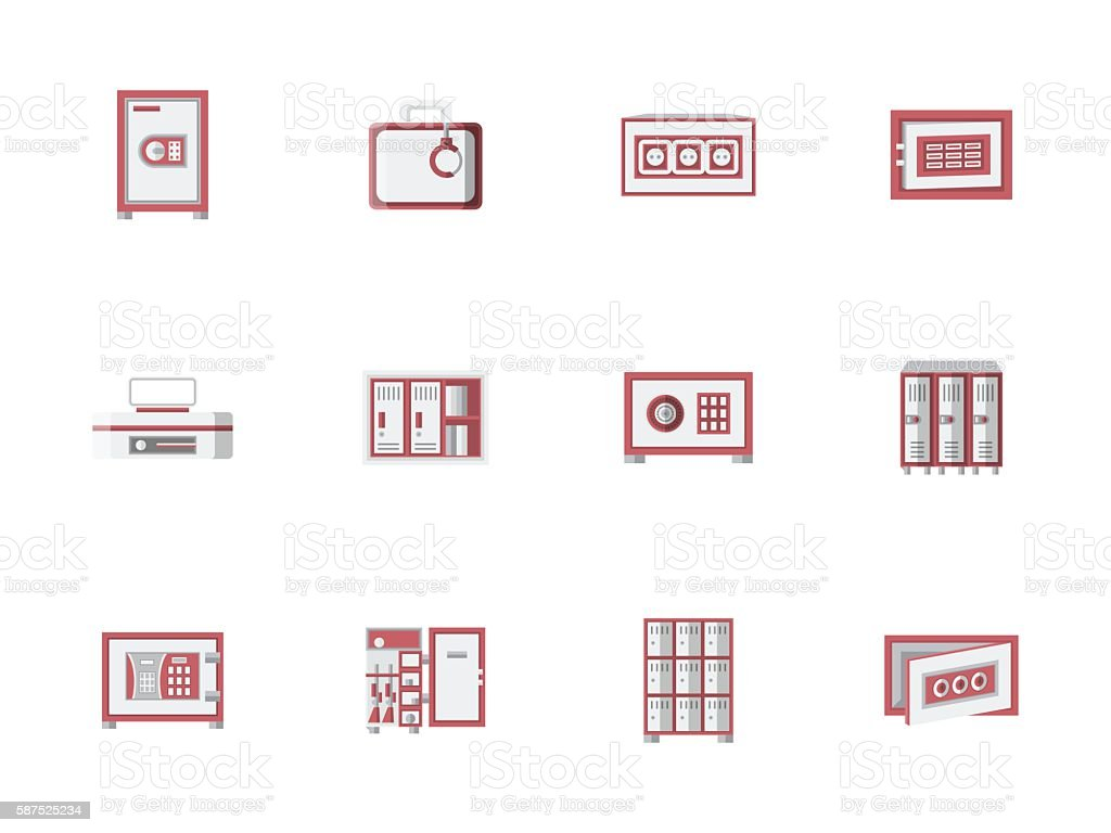 Red cabinets and lockers flat vector icons set vector art illustration