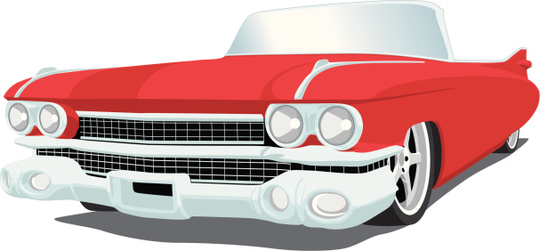 Vector image of a 1959 Cadillac, saved in layers for easy editing.