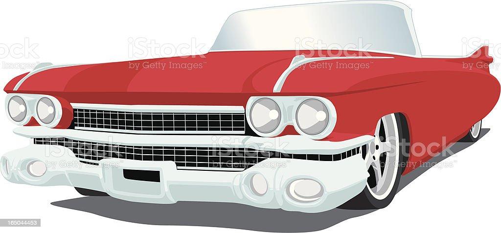 Red Caddy - 1959 vector art illustration