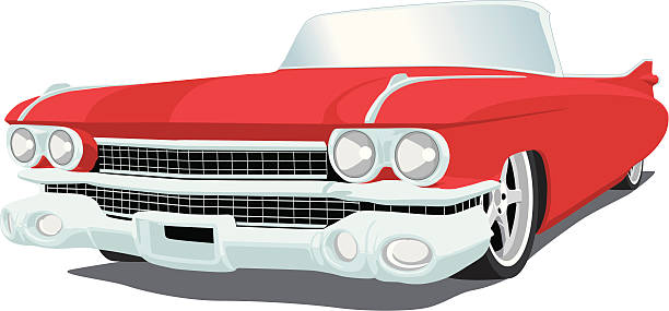 Red Caddy - 1959 Vector image of a 1959 Cadillac, saved in layers for easy editing.   convertible stock illustrations
