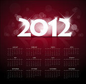 Red calendar for the new year 2012 with back light