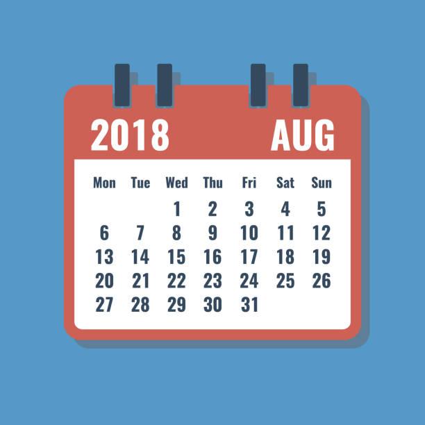 ilustrações, clipart, desenhos animados e ícones de grade de calendário vermelho com agosto de 2018, estilo plano vector illustration - calendário vintage