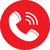 Vector illustration of a red and white round telephone receiver call icon.
