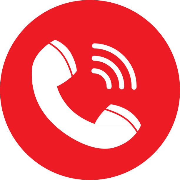 kırmızı arama simgesi - telefon kullanımı stock illustrations