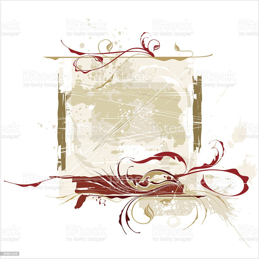 Red calligraphy flowers ornament on beige grunge background royalty-free stock vector art