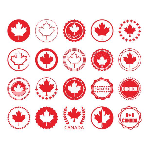 czerwona flaga kanada i liść klonu znak koła emblematy i znaczki elementy projektu ustawione na białym tle - kanada stock illustrations