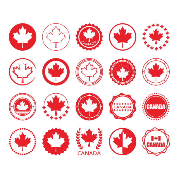 Red Canada flag and maple leaf sign circle emblems and stamps design elements set on white background Red Canada flag and maple leaf sign circle emblems and stamps design elements set on white background maple leaf stock illustrations