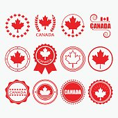 Red Canada flag emblems, stamps and design elements set