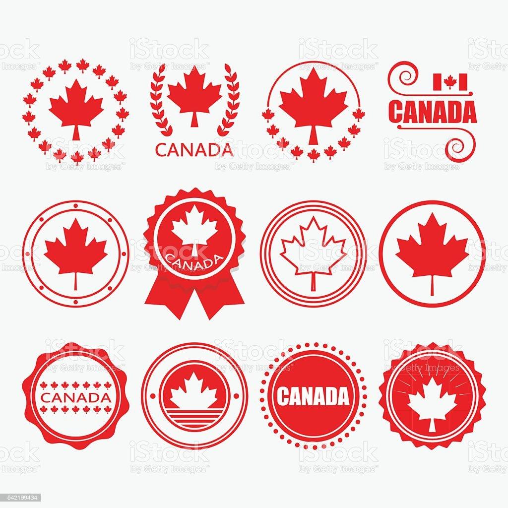Red Canada flag emblems, stamps and design elements set vector art illustration