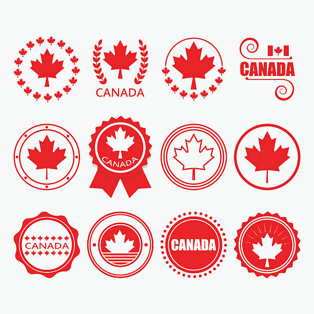 Red Canada flag emblems, stamps and design elements set Red Canada flag emblems, stamps and design elements set maple leaf stock illustrations