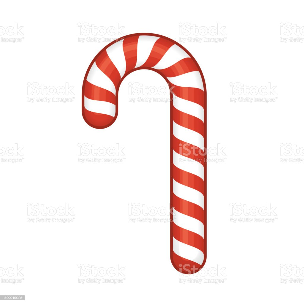 Red Candy Cane Isolated on White Background. Vector vector art illustration