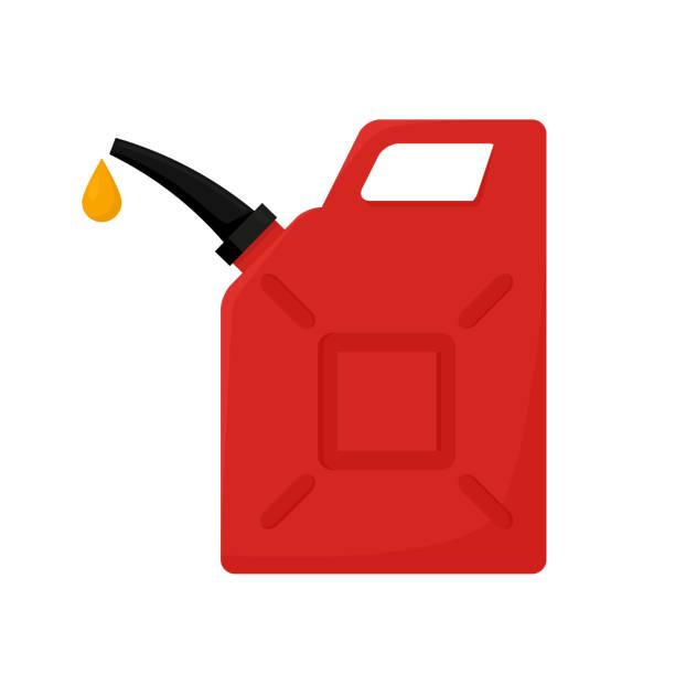 illustrazioni stock, clip art, cartoni animati e icone di tendenza di red canister isolated on white background. vector illustration in flat style. eps10. - benzina