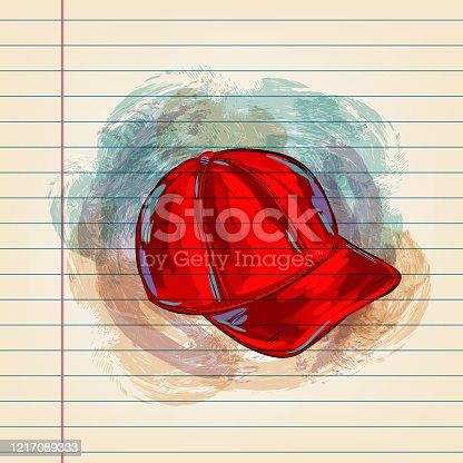 istock Red Cap Drawing on Ruled Paper 1217089333