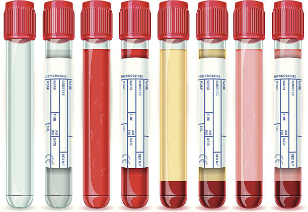 Red Cap Tube with Six Possible Uses Detailed illustration of a Red Cap Tube with Six Possible Uses, empty, blood, serum or plasma. tube stock illustrations