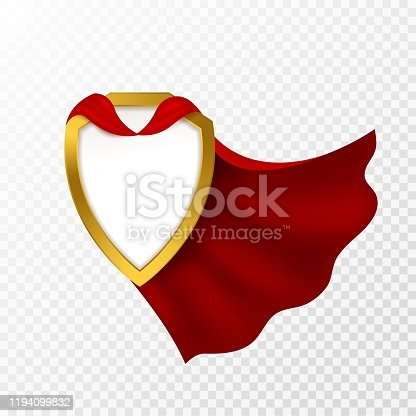 Red cape badge. Hero cloak, mantle carnival super clothes with blank shield. Success and leadership symbol, power vector imagination superhero concept