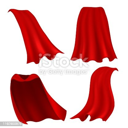 Red cape. Realistic draped scarlet cloak front, side and back view, silk mantle model clothing, carnival costume accessories vector 3d magic clothes set