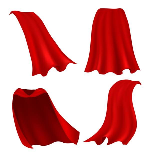 ilustrações de stock, clip art, desenhos animados e ícones de red cape. realistic draped scarlet cloak front, side and back view, silk mantle model clothing, carnival costume accessories vector set - super hero